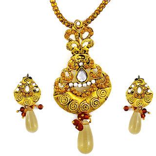 Asian Pearls & Jewels Golden Drop Pendant  Set - 5042640