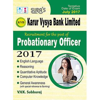 KVB ( Karur Vysya Bank ) Probationary Officer ( PO ) Exam Books 2017