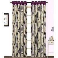 ILiv Purple Jute Curtain ( Set Of 2 ) - 5Ft