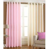 ILiv Plain Eyelet Curtain 9Ft ( Set Of 2 )- Baby Pink & Cream