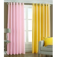ILiv Plain Eyelet Curtain 9Ft ( Set Of 2 )- Baby Pink & Yellow