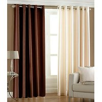 ILiv Plain Eyelet Curtain 7Ft ( Set Of 2 )- Brown & Cream