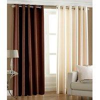 ILiv Plain Eyelet Curtain 9Ft ( Set Of 2 )- Brown & Cream