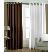 ILiv Plain Eyelet Curtain 7Ft ( Set Of 2 )- Brown & White