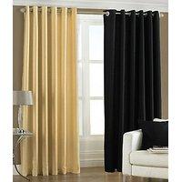 ILiv Plain Eyelet Curtain 9Ft ( Set Of 2 )- Fawn & Black