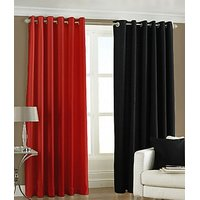 ILiv Plain Eyelet Curtain 7Ft ( Set Of 2 )- Red & Black