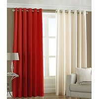 ILiv Plain Eyelet Curtain 7Ft ( Set Of 2 )- Red & Cream