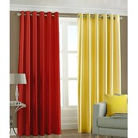 ILiv Plain Eyelet Curtain 7Ft ( Set Of 2 )- Red & Yellow