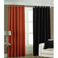 ILiv Plain Eyelet Curtain 7Ft ( Set Of 2 )- Rust & Black