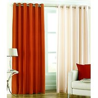 ILiv Plain Eyelet Curtain 7Ft ( Set Of 2 )- Rust & Cream