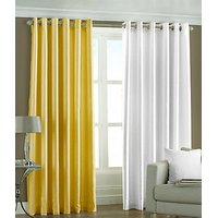 ILiv Plain Eyelet Curtain 7Ft ( Set Of 2 )- Yellow & White