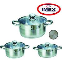 Imex - Stainleess Steel Sandwitch Bottom Casserol Set With Lid - Set Of 3 Cassrerole - Unichef