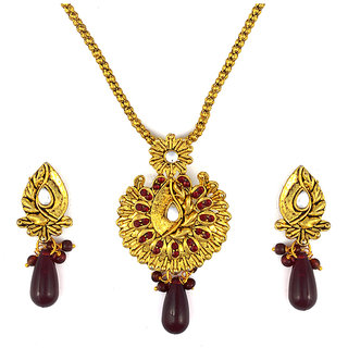 Asian Pearls & Jewels Red Kundan Pendant Set