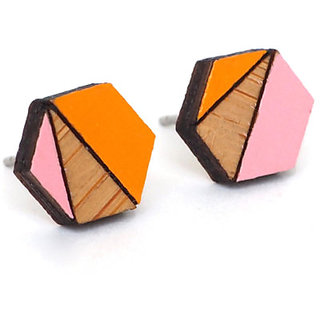 ChoosePick Hand Painted Handmade Orange Pink Studs Wood Earring for Girl Women