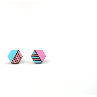 ChoosePick Hand Painted Handmade Pink Blue Studs Wood Earring for Girl Women