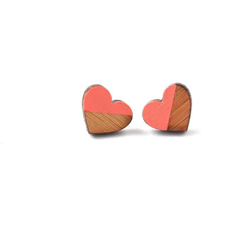 ChoosePick Hand Painted Handmade Pink Studs Wood Earring for Girl Women