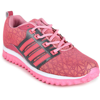 Fitze girls light grey and pink casual sports shoes