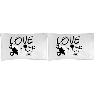 Mickey Printed LOVE pillow covers for couple
