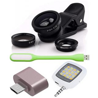 Combo of Universal Mobile Camera Lens Kit Cute little OTG Adapter USB LED Light and Selfie LED Flash Light