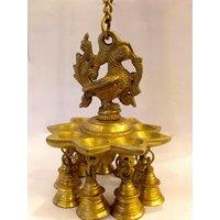 Brass Gift Item Hanging Diya With Bell(Yellow, 6.5 Cm X 12 Cm)