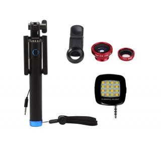 Combo of Locust Aux Selfie Stick + 3 In 1 Clip Mobile Camera Lens Kit +  LED Selfie Night Flash Light
