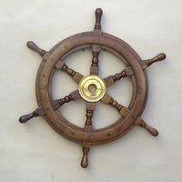 12''Nautical Wooden Ship Wheel With Brass Hub Pirate Ship Marine Decor Item.