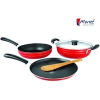 Monet Celebration Non-Stick Cookware Set 3 Pcs + 1 Lid