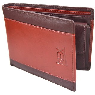 iMEX Men Formal Brown Cherry Genuine Leather Wallet