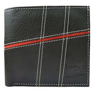 iMEX Mens Black with Red Strip Artificial Leather Wallet