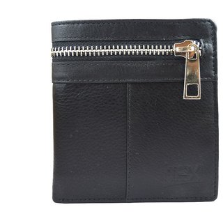 iMEX Mens Black Outer Zipper Genuine Leather Wallet