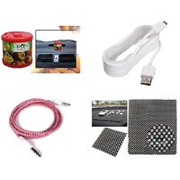 lowrence car  1 Car Gel Based Perfume assorted + 1 Anti slip mat + 1Car single port charger one mtr + 1 Aux Cable