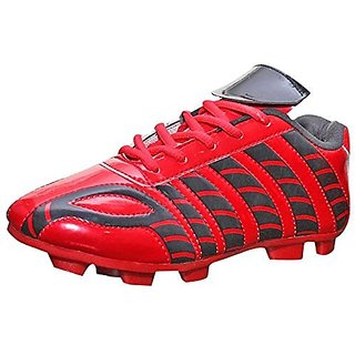 Port Womens Aster Red Black Leather Football Sports Shoes