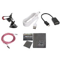 lowrence car  1 Car Mobile Holder + 1 Anti slip mat + 1Car single port charger one mtr + 1 Aux Cable 1 mtr +1 Otg Cable
