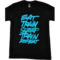 DYEG Motivational Gym T-shirt : Eat Sleep Train Sleep Repeat ( Medium Size )