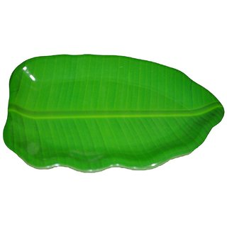 Hua You 11 inch Banana Leaf Shape South Indian Dinner Lunch Serving Melamine Platter Plate For All Occasions