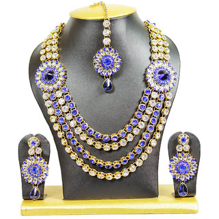 Roses N Thorns Crystal Necklace Set In Blue