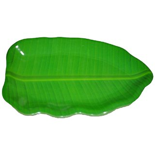 Hua You 16 inch Banana Leaf Shape South Indian Dinner Lunch Serving Melamine Platter Plate Tray For All Occasions - 1 Pc