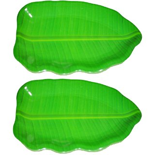 Hua You 16 inch Banana Leaf Shape South Indian Dinner Lunch Serving Melamine Platter Plate For All Occasions - 2 Pcs