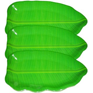 Hua You 16 inch Banana Leaf Shape South Indian Dinner Lunch Serving Melamine Platter Plate For All Occasions - 3 Pcs