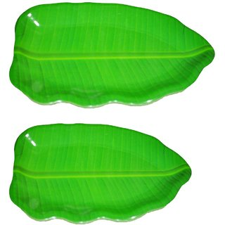 Hua You Banana Leaf Shape South Indian Dinner Lunch Serving Melamine Platter Plate For All Occasions - 2 Pcs (1 No. 16 i