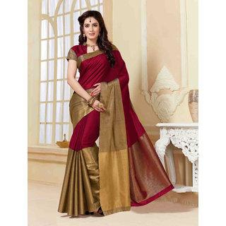 Indian Beauty Multicolor Art Silk Self Design Saree With Blouse
