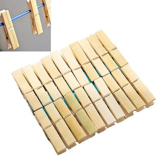 OURZ Bamboo Wooden Cloth Drying NON RUST Clips Peg Set - 40 Pcs Set