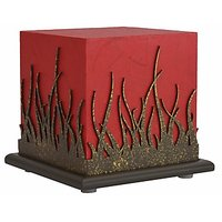 Shady Ideas Red With Brown Cutout Forest Fire Small Lamp