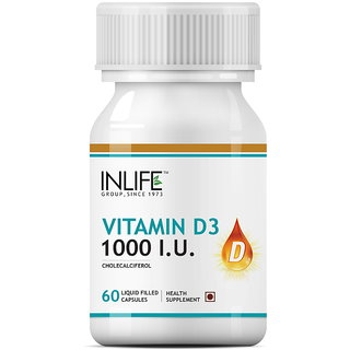 INLIFE Vitamin D3 (Cholecalciferol) 1000 IU 60 Capsules For Bone Health