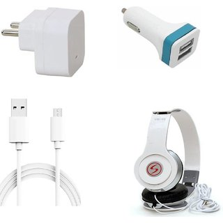 Premium Quality + Proper 1.5 Amp USB Charger + 3 meter Copper Embedded USB Cable (Data Transfer + Charging) + VM 46 3.5 mm Jack  Headphones + 2 Jack USB Car Charger Compatible With Spice Stellar 524