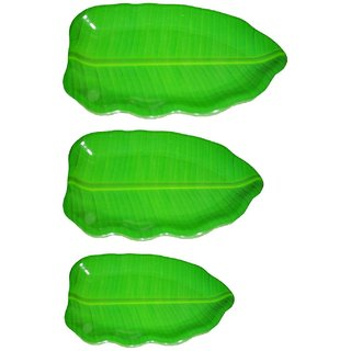 Hua You Banana Leaf Shape South Indian Dinner Lunch Serving Melamine Plastic Platter Plate For All Occasions - 3 Pcs (1