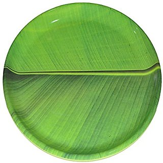 Hua You 12 inch Banana Leaf South Indian Round Dinner Lunch Serving Melamine Platter Plate For All Occasions