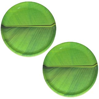 Hua You 12 inch Banana Leaf South Indian Round Dinner Lunch Serving Melamine Plastic Platter Plate For All Occasions - 2