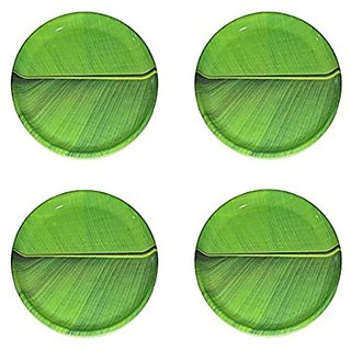 Hua You 12 inch Banana Leaf South Indian Round Dinner Lunch Serving Melamine Plastic Platter Plate For All Occasions - 4