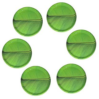 Hua You 12 inch Banana Leaf South Indian Round Dinner Lunch Serving Melamine Plastic Platter Plate For All Occasions - 6